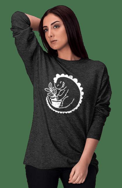 Світшот жіночий з принтом Білий Дракоша З Квіткою CustomPrint.market
