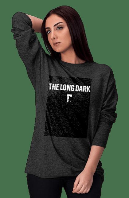 Світшот жіночий з принтом The Long Dark. The Long Dark, атрибутика, игры, простое, черный цвет. CustomPrint.market