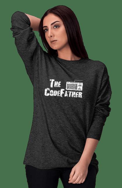 Світшот жіночий з принтом Батько Коду, Клавіатура, Білий. День програміста, клавіатура, код, програміст. BlackLine