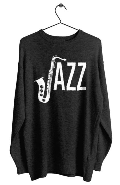 Світшот жіночий з принтом Джаз, Білий. Джаз, музика. BlackLine