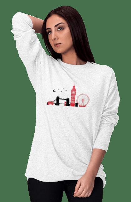 Світшот жіночий з принтом Чорно Червоний Лондон. Колесо, лондон, міст, місто. BlackLine
