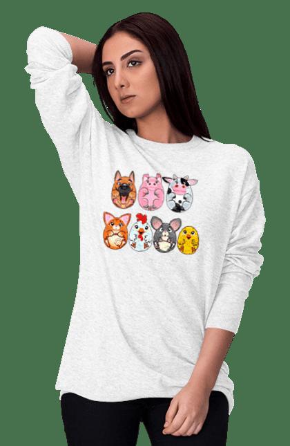 Світшот жіночий з принтом Круглі Тварини CustomPrint.market