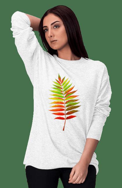 Світшот жіночий з принтом Осінній Листок. Жовтий листок, листок, осінь. BlackLine