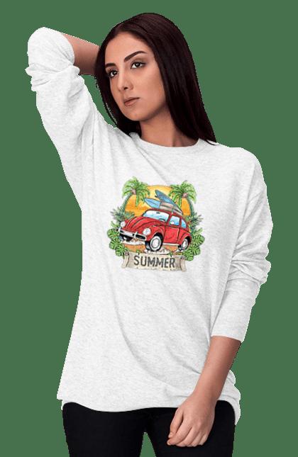 Світшот жіночий з принтом Літо, Машина І Пальми
