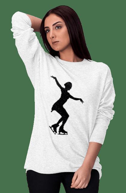 Світшот жіночий з принтом Силует Дівчини На Ковзанах BlackLine