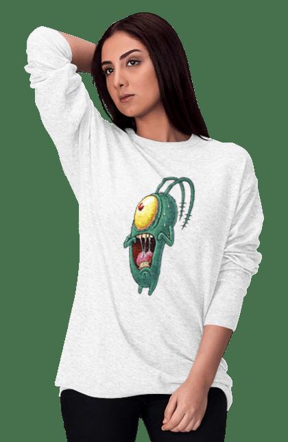 Світшот жіночий з принтом Переляканий Планктон