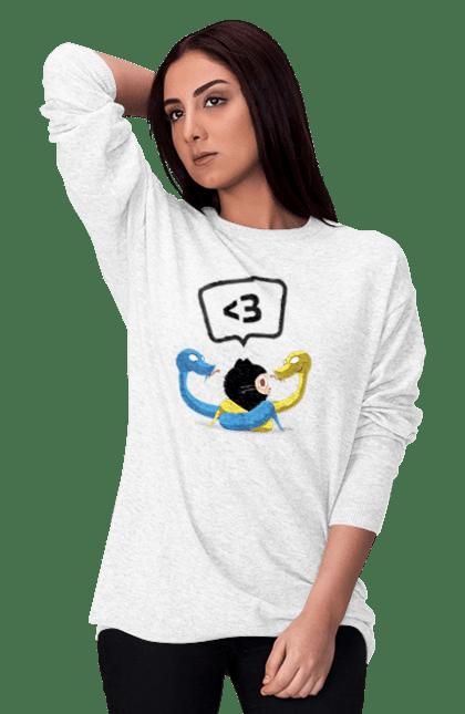 Світшот жіночий з принтом Язик Третього Покоління, Програміст. День програміста, змія, покоління, програміст, язик. BlackLine