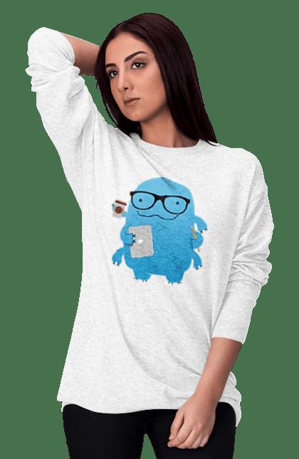 Світшот жіночий з принтом Програміст У Справах. День програміста, комп'ютер, програма, програміст. BlackLine