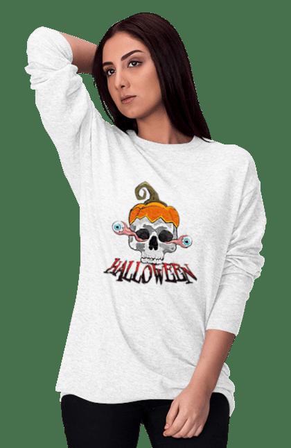 Світшот жіночий з принтом Череп с выпадающими глазами. Глаза, тыква, хеллоуин, череп, шляпа тыква. CustomPrint.market