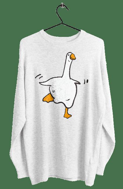 Світшот жіночий з принтом Танцюючий Гусак. Білий, гусак, птах, танець. CustomPrint.market