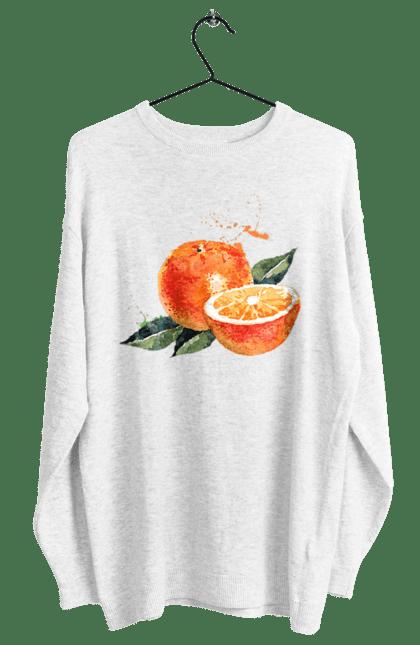Світшот жіночий з принтом Помаранчевий Апельсин. Апельсин, помаранчевий апельсин, фрукт, цитрус. CustomPrint.market