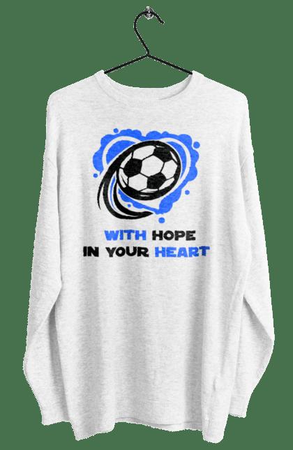 Світшот жіночий з принтом Футбол в серці синій. Футбол. BlackLine