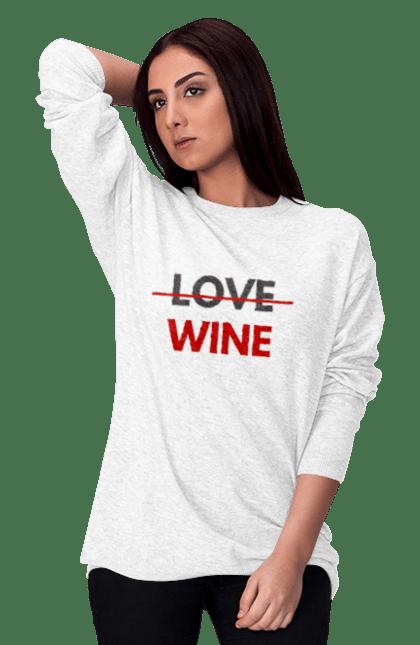 Світшот жіночий з принтом Немає Любові Тільки Вино. Алкоголь, вино, любов, цитата, червоний. CustomPrint.market