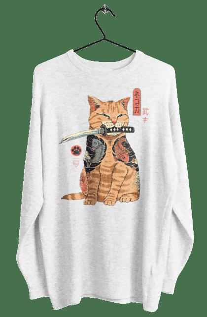 Світшот жіночий з принтом Кот Самурай. Кіт, ніж, самурай, тварина. CustomPrint.market