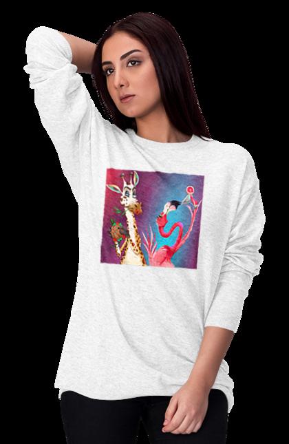 Світшот жіночий з принтом Жираф І Фламінго На Вечірці. Жираф, їжа, коктейль, фламінго. CustomPrint.market