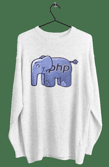 Світшот жіночий з принтом Мова Програмування, Слон. День програміста, мова програмування, програма, програміст, слон. BlackLine