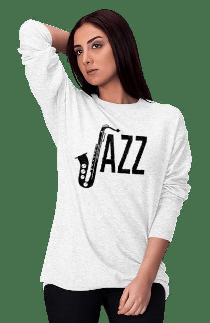 Світшот жіночий з принтом Джаз, Чорний. Джаз, музика. BlackLine