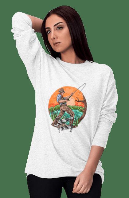 Світшот жіночий з принтом День Рибака Літня Риболовля CustomPrint.market