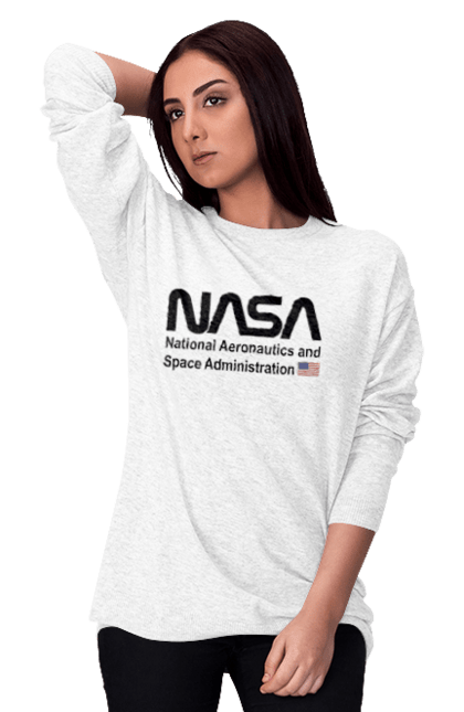 Світшот жіночий з принтом Nasa Administration. Ілона маск, космос, на са, спейс ікс. CustomPrint.market