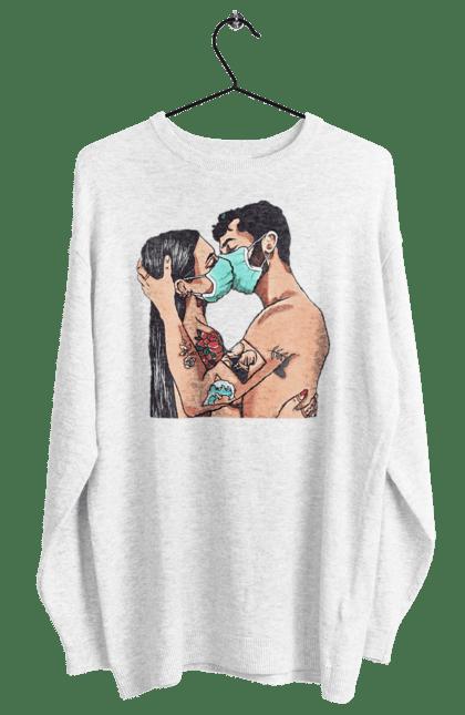 Світшот жіночий з принтом Коронавірусна Любов. Карантин, коронавірус, кохання, маска, поцілунок. BlackLine