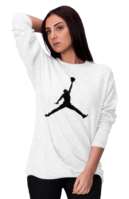 Світшот жіночий з принтом Jordan. Jordan, бренд, гра, джордан. CustomPrint.market