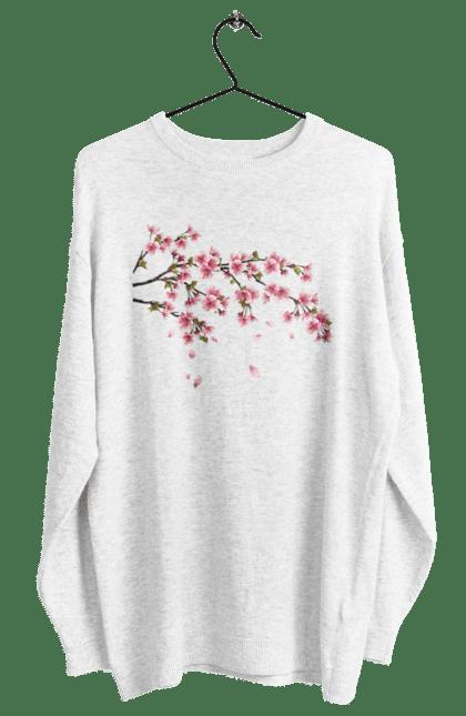 Світшот жіночий з принтом Гілка З Рожевими Квітами. Гілка, гілка з квітами, квіти. BlackLine