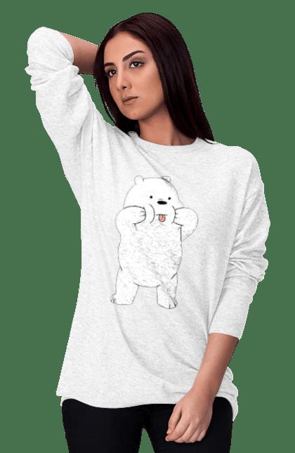 Світшот жіночий з принтом Ведмідь Показує Язика. Ведмідь, мова. CustomPrint.market