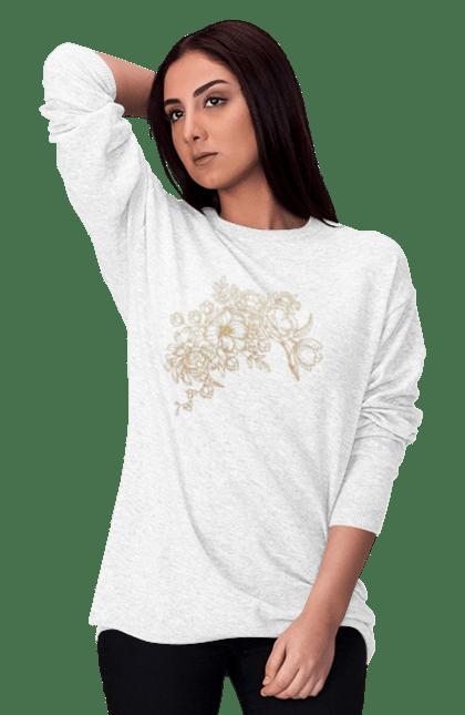 Світшот жіночий з принтом Золотистые Цветы. Візерунок, квіти, квітка. BlackLine