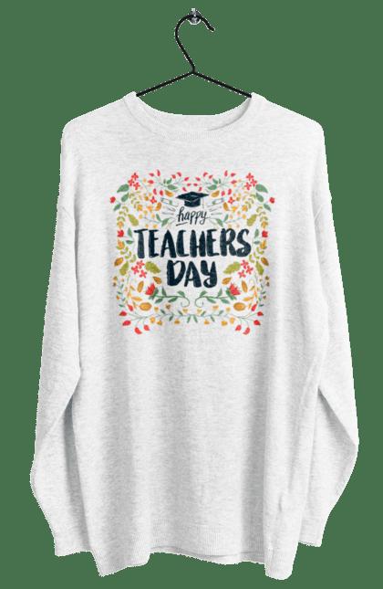 Світшот жіночий з принтом Щасливий День Учителя, Квіти. День учителя, знання, навчання, учитель. BlackLine