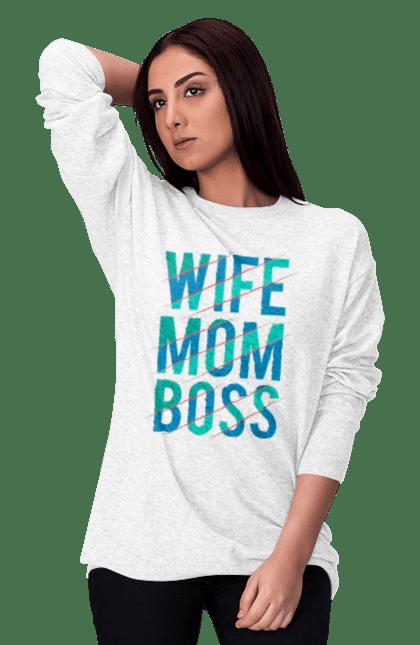 Світшот жіночий з принтом Дружина Мама Бос
