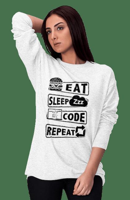Світшот жіночий з принтом Їжа, Сон, Код, Повторити, Програміст Чорний. День програміста, їжа, код, програміст, сон. BlackLine