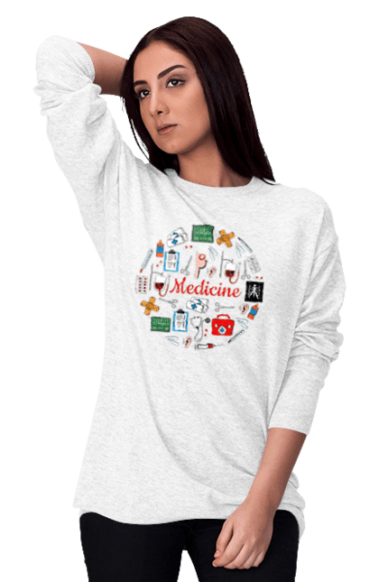 Світшот жіночий з принтом Медицина І Лікування. Лікування, медицина, укол. BlackLine