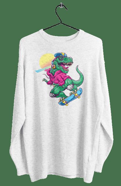 Світшот жіночий з принтом Динозавр В Навушниках І На Скейті CustomPrint.market