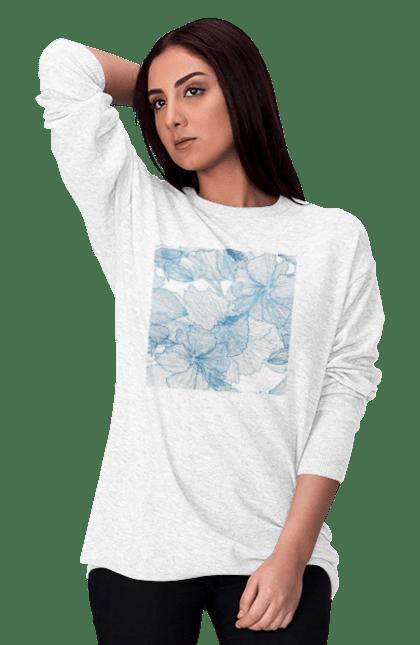 Світшот жіночий з принтом Блакитні Візерункові Квіти. Візерунок, квітка. BlackLine