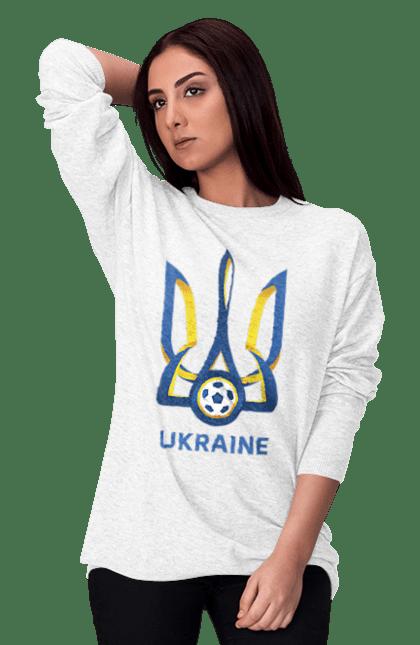 Світшот жіночий з принтом Футбол Герб України 2020 BlackLine
