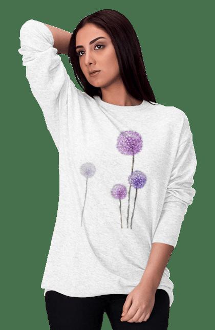 Світшот жіночий з принтом Фіолетові Кульбаби. Квітка, кульбаба, кульбаби. BlackLine
