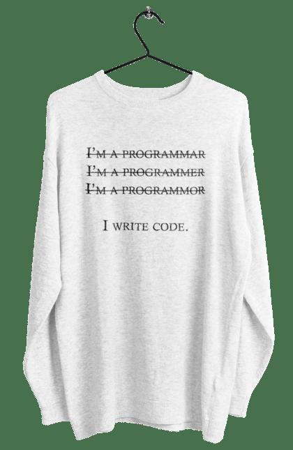 Світшот жіночий з принтом Я Пишу Код, Програміст, Чорний. День програміста, клд, пишу код, програма, програміст. BlackLine