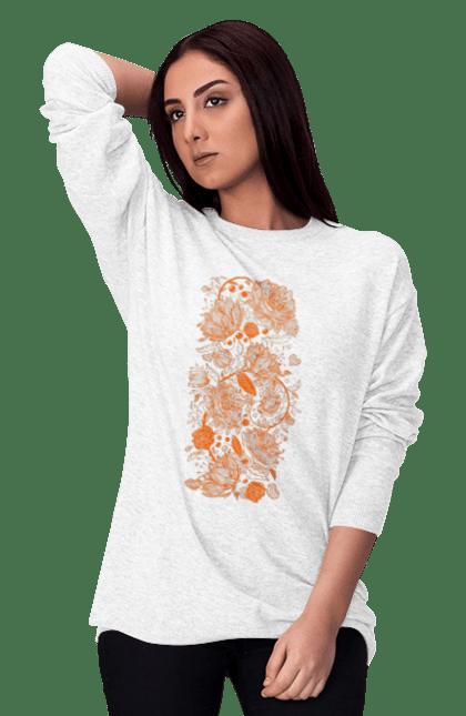 Світшот жіночий з принтом Візерункові Помаранчеві Квіти. Візерунок, квітка. BlackLine