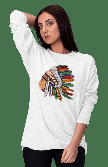 Світшот жіночий з принтом Індіанець, Вид Збоку