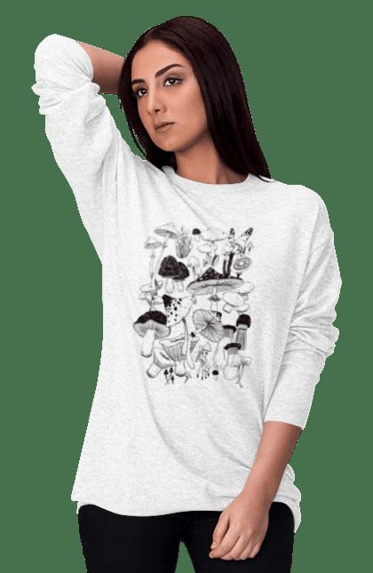 Світшот жіночий з принтом Чорні Гриби. Гриб, гриби, грибник, міхомор, осінь. CustomPrint.market