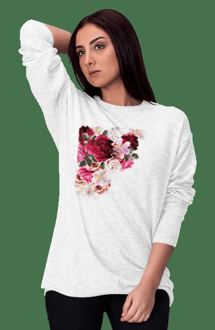 Світшот жіночий з принтом Збірник Квітів. Квіти, квітка, півонія, фіалка. CustomPrint.market