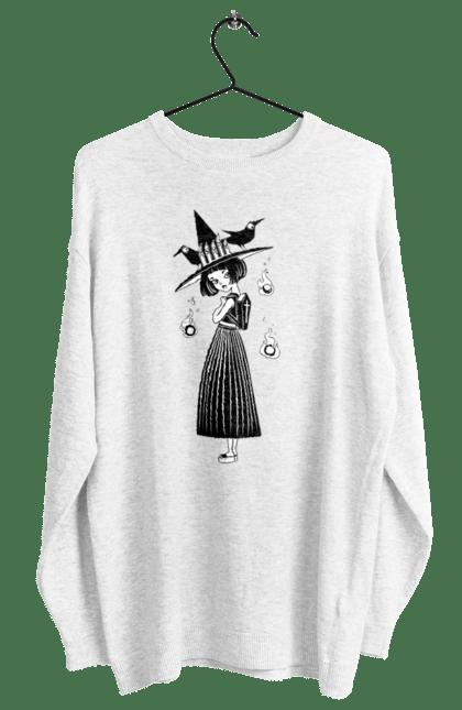Світшот жіночий з принтом Відьмочка в капелюсі з воронами. Ведьма, відьма, ворона, капелюх, рюкзак, хеллоуин, шляпа. CustomPrint.market