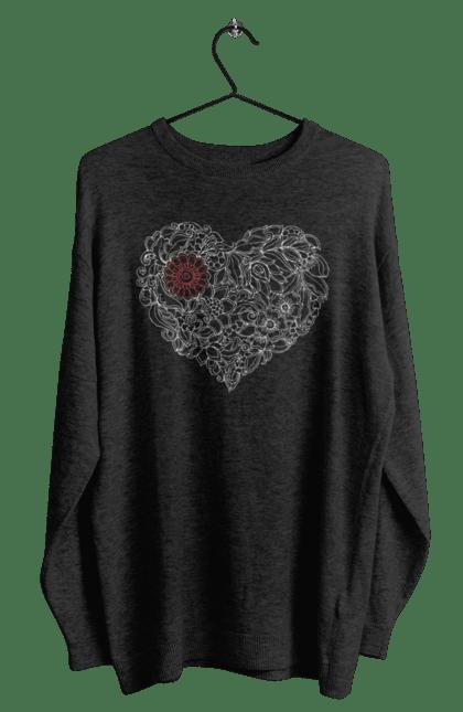 Світшот чоловічий з принтом Серце Візерункове З Квітів. Візерунок, квітка, серце. BlackLine
