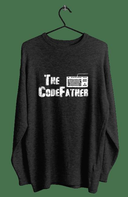 Світшот чоловічий з принтом Батько Коду, Клавіатура, Білий. День програміста, клавіатура, код, програміст. BlackLine