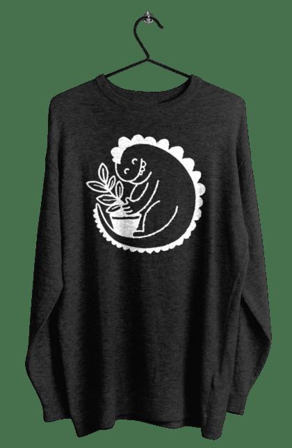 Світшот чоловічий з принтом Білий Дракоша З Квіткою CustomPrint.market