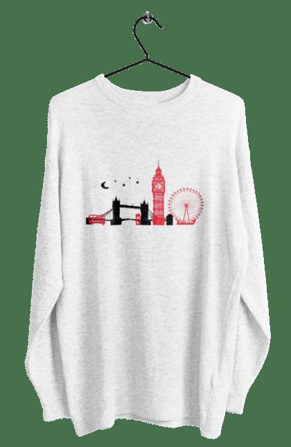 Світшот чоловічий з принтом Чорно Червоний Лондон. Колесо, лондон, міст, місто. BlackLine