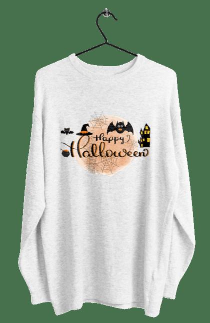 Світшот чоловічий з принтом Веселого хеллоуина. Вечеринка, день всех святых, летучая мышь, праздник, хеллоуин. CustomPrint.market