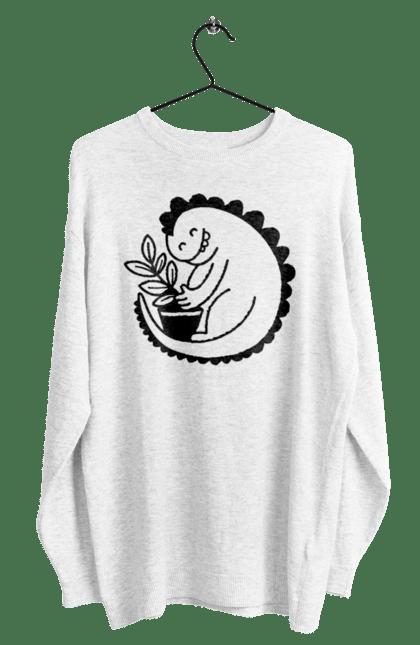 Світшот чоловічий з принтом Чорний Дракоша З Квіткою CustomPrint.market