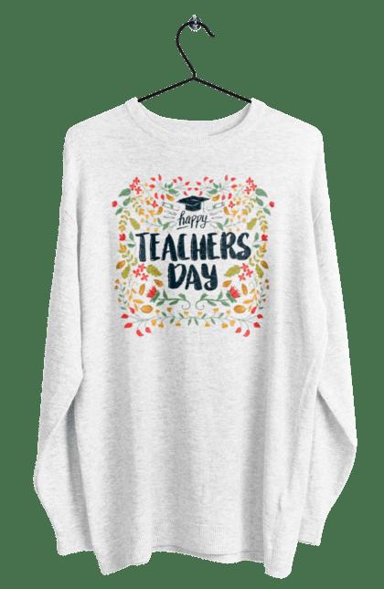 Світшот чоловічий з принтом Щасливий День Учителя, Квіти. День учителя, знання, навчання, учитель. BlackLine