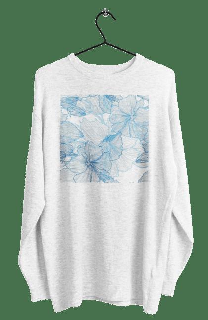 Світшот чоловічий з принтом Блакитні Візерункові Квіти. Візерунок, квітка. BlackLine
